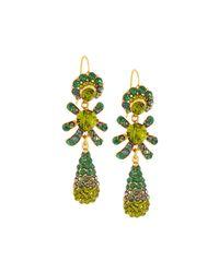 Jose & Maria Barrera | Metallic Golden Pave Crystal Triple-drop Earrings | Lyst