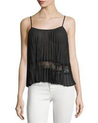 BCBGeneration | Black Pleated Lace-inset Camisole | Lyst