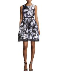 Donna Ricco - Multicolor Floral-print Sleeveless Dress - Lyst