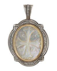 Konstantino - Metallic Carved Mother-of-pearl Cross Pendant Enhancer - Lyst