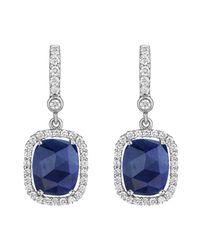 Penny Preville | Metallic 18k White Gold Diamond & Sapphire Drop Earrings | Lyst