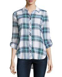 Neiman Marcus   Blue Long-sleeve Plaid Button Blouse   Lyst