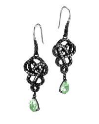 John Hardy | Black Batu Classic Chain Green Braided Amethyst & Diamond Drop Earrings | Lyst