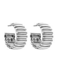 John Hardy | Metallic Bedeg Wide Sterling Silver Rippled Hoop Earrings | Lyst