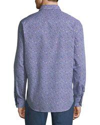 Bugatchi - Blue Classic-fit Long-sleeve Dots Sport Shirt for Men - Lyst