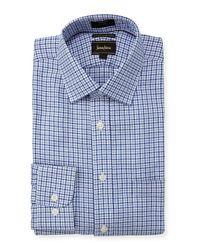 Neiman Marcus | Blue Luxury Tech Trim-fit Twill Check Dress Shirt for Men | Lyst