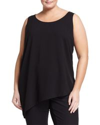 Eileen Fisher | Black Georgette Side-drop Silk Top | Lyst
