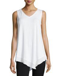 Joan Vass | White Sleeveless Handkerchief-hem Top | Lyst