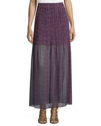 BCBGMAXAZRIA | Purple Printed Chiffon Maxi Skirt | Lyst