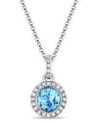 Diana M. Jewels - 14k White Gold Blue Topaz & Diamond Round Pendant Necklace - Lyst