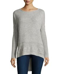 Neiman Marcus | Gray Cashmere High-low Tunic Sweater | Lyst