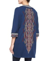 Johnny Was - Blue Sophie Embroidered Long Coat - Lyst