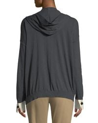 Brunello Cucinelli - Gray Double-sleeved Button Front Hoodie - Lyst