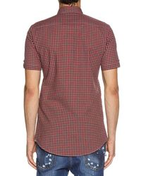 DSquared² - Red Check Short-sleeve Woven Shirt for Men - Lyst