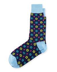 Bugatchi | Blue Diamond-print Cotton-blend Socks for Men | Lyst