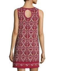 Max Studio - Red Sleeveless Printed Shift Dress - Lyst