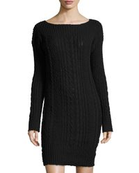 Three Dots | Black Kelsey Cable-knit Sweater Dress | Lyst