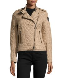 569797cf8ccc Lyst - Belstaff Langston Quilted Moto Jacket in Brown