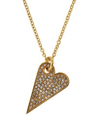Rebecca Minkoff | Metallic 14k Gold-plated Crystal Heart Pendant Necklace | Lyst