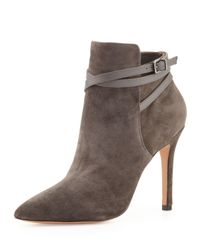 Pour La Victoire - Gray Candence Suede Bootie Charcoal - Lyst