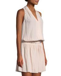 Ramy Brook Black Mannie Grommet-seam V-neck Dress