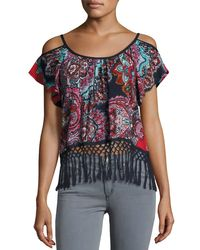 Band Of Gypsies | Blue Paisley-print Cold-shoulder Top | Lyst