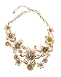 Lydell NYC | Metallic Golden Crystal & Pearly Flower Statement Bib Necklace | Lyst