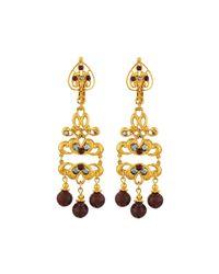 Jose & Maria Barrera | Metallic Golden Jasper & Crystal Filigree Drop Earrings | Lyst