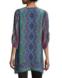 Tolani - Blue Keira Silk Printed Long Tunic - Lyst