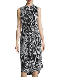 Equipment   Black Zebra-print Silk Shirtdress   Lyst