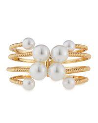 Kenneth Jay Lane | Metallic Golden Pearly Rope Cuff Bracelet | Lyst