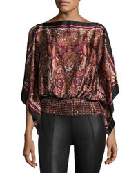Max Studio - Multicolor Smocked Scarf-print Satin Blouse - Lyst