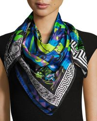 Versace - Blue Silk Square Abstract Scarf - Lyst