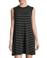 Autumn Cashmere | Black Sleeveless Striped Cashmere Sweater Dress | Lyst