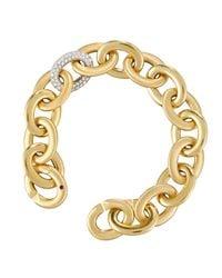 Roberto Coin - Metallic 18k Pave Diamond Oval Link Bracelet - Lyst