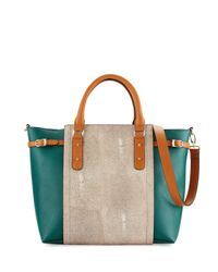 Neiman Marcus | Green Valeria Colorblock Stingray Tote Bag | Lyst