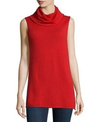 Neiman Marcus | Black Cashmere Sleeveless Cowl Sweater | Lyst