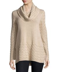 Neiman Marcus | Natural Cowl-neck Basketweave Sweater | Lyst