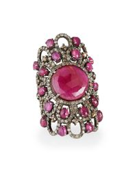 Bavna | Metallic Sterling Silver Ruby Statement Ring With Diamonds | Lyst