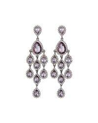 Fragments | Gray Crystal Statement Chandelier Earrings | Lyst