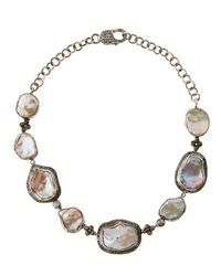Bavna - Multicolor Baroque Pearl & Diamond Collar Necklace - Lyst