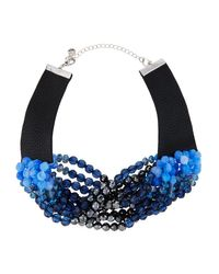 Lydell NYC | Blue Multi-strand Beaded Torsade Choker Necklace | Lyst