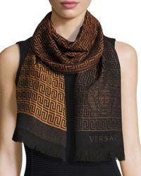 Versace - Brown Zigzag Printed Fringe Scarf - Lyst