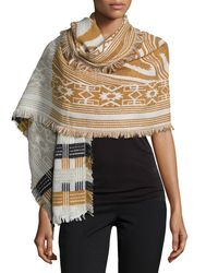 Neiman Marcus - Multicolor Geometric-print Knit Scarf - Lyst