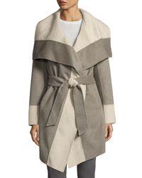 Diane von Furstenberg - Gray Mackenzie Wool-blend Colorblock Wrap Coat - Lyst