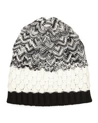 Missoni - Black Scalloped Knit Wool Beanie Hat - Lyst