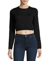 Todd And Duncan - Black Cashmere Long-sleeve Crop Top - Lyst