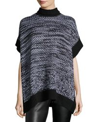 MICHAEL Michael Kors | Black Houndstooth Twill Poncho | Lyst