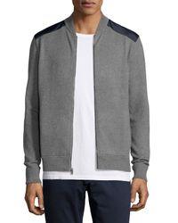 Michael Kors - Gray Contrast-patch Zip-front Sweater for Men - Lyst