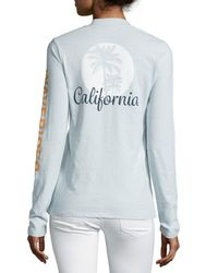 James Perse - Blue Long-sleeve V-neck Graphic T-shirt - Lyst